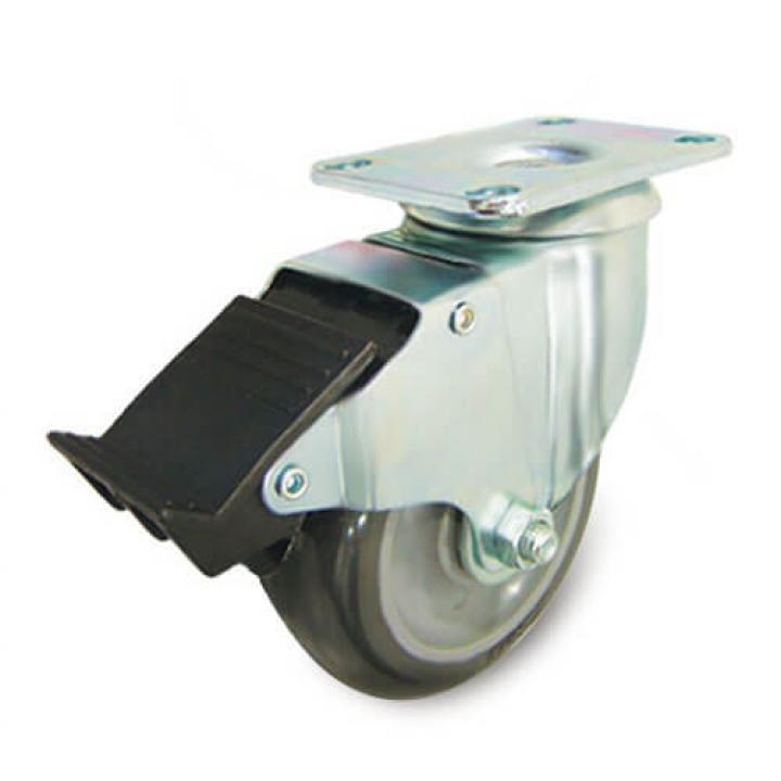Bánh xe PU tải trọng nhẹ xoay có thắng kim loại Ethos 256UIY100P01