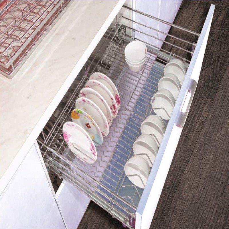 Giá kệ chén đĩa inox ray giảm chấn gắn âm tủ (nhiều loại) SP000118