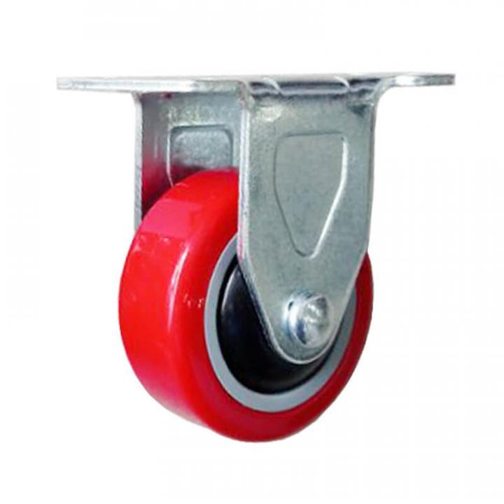 Bánh xe PU đỏ tải trọng nhẹ cố định Kyung Chang 2040R A1 PVC