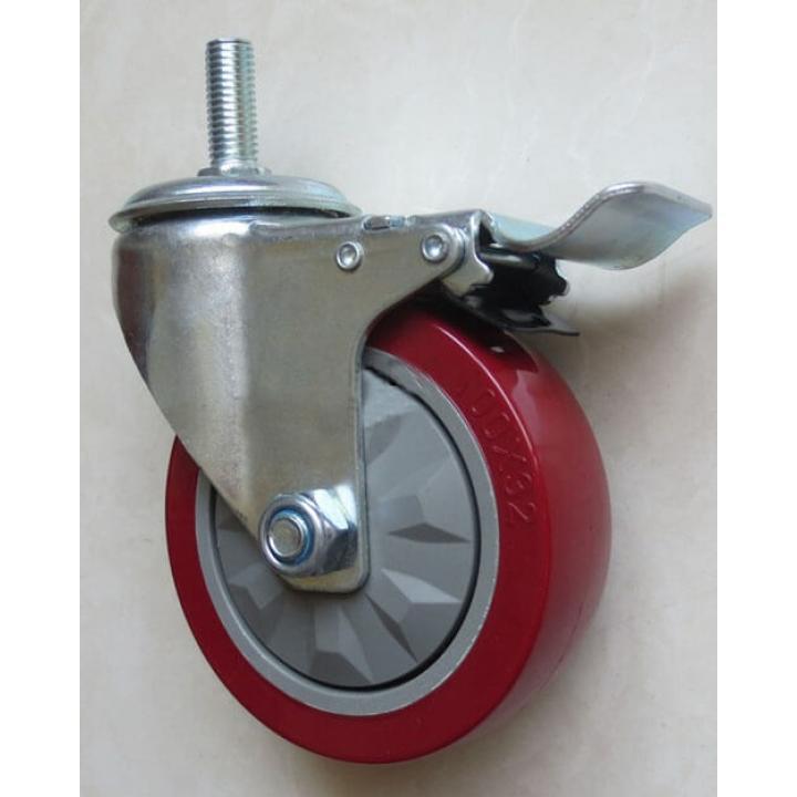 Bánh xe PU càng xoay khóa trục ren  Shenpai 158-065-PU-SBR