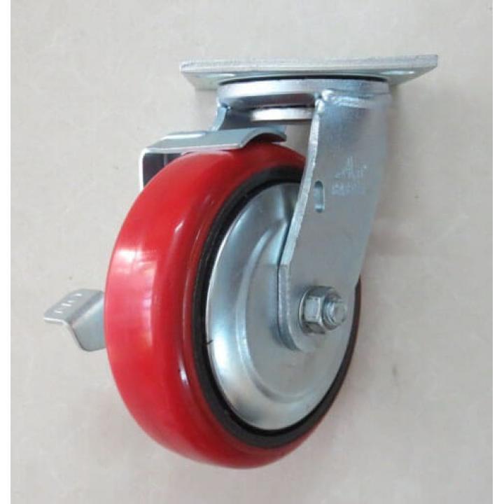"""Bánh xe PU càng inox 304 xoay khóa A Caster A8""""-SS304-PU-SB"""