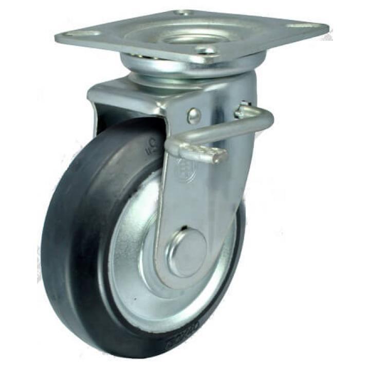 Bánh xe cao su lõi thép càng xoay khóa Shenpai PJS-075