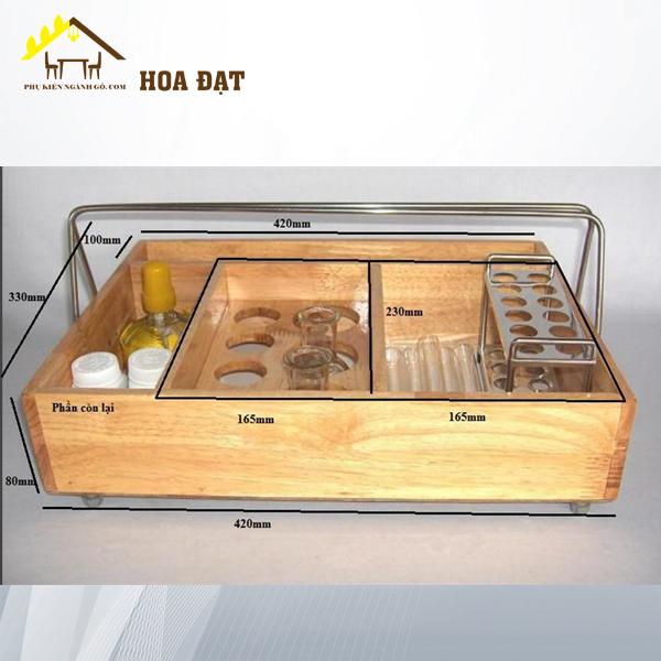Hộp gỗ đựng đồ kèm quay xách 420x330x80mm VNH2923586 (cái)