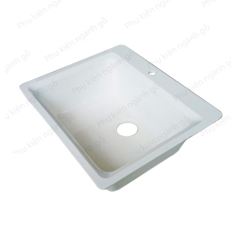 Bồn rửa chén bát bằng đá granite màu trắng rock white 560x480x215 JM305 (cái)