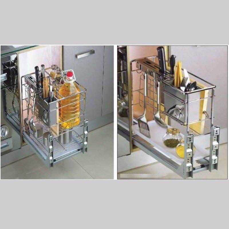 Phụ kiện tủ bếp - Giá gia vị inox nan vuông ray giảm chấn SP000167