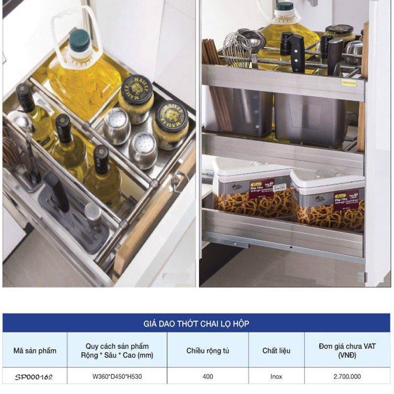 Giá kệ để dao thớt chai lọ hộp gia vị âm tủ SP000161