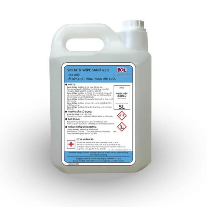 Hóa chất khử trùng trong 1 bước NCL SPRAY & WIPE SANITIZER 5L
