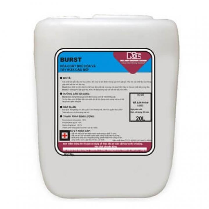Hóa chất nhũ hóa và tẩy dầu mỡ dùng trong nhà giặt NCL Burst 20L