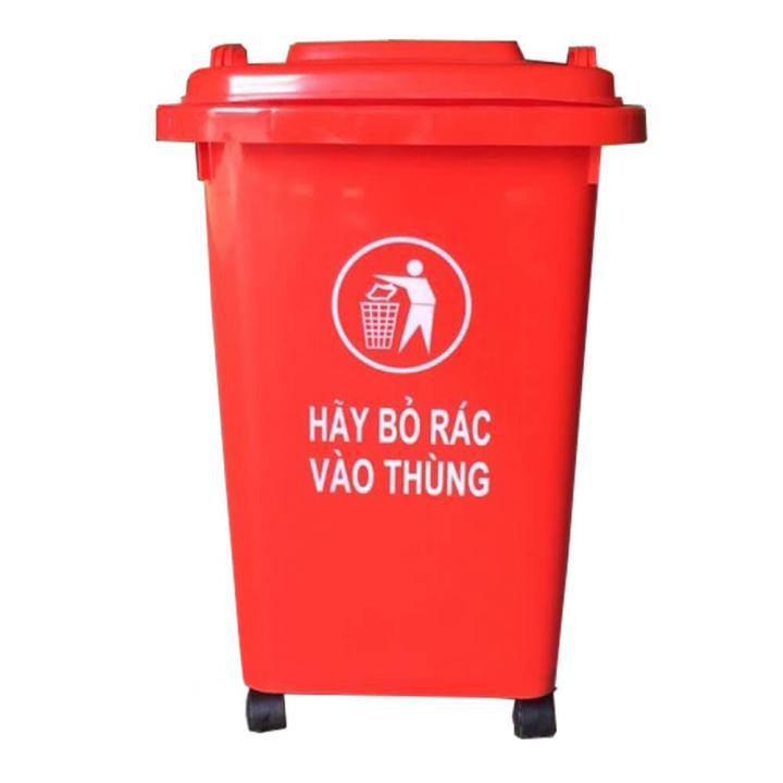 Thùng rác nhựa đỏ Vietclean B-60R 60L