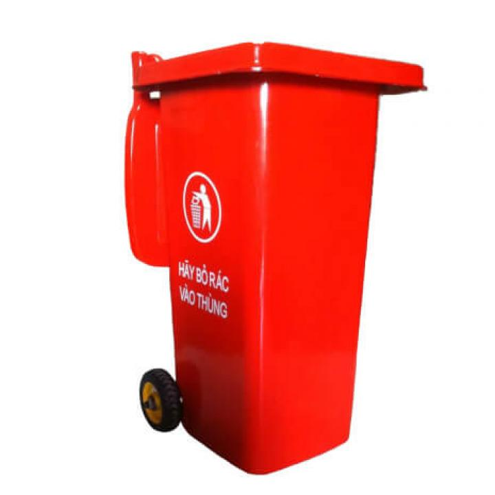 Thùng rác nhựa đỏ Vietclean B-120R 120L