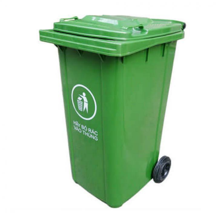 Thùng rác nhựa xanh lá Vietclean B-240T 240L