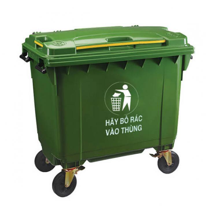 Thùng rác nhựa xanh lá Vietclean B-660 660L