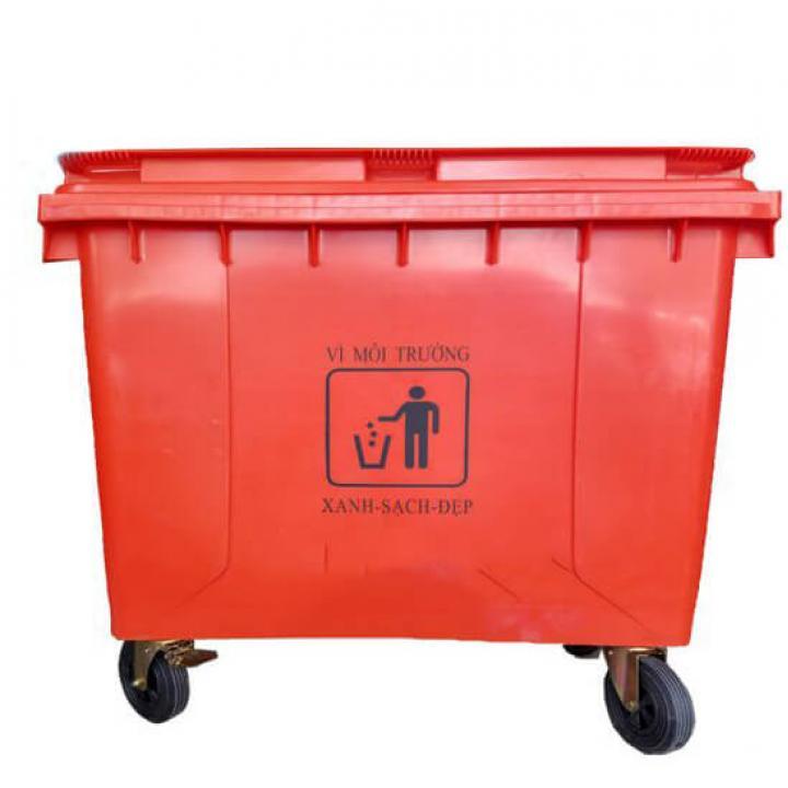 Thùng rác nhựa đỏ Vietclean B-660R 660L