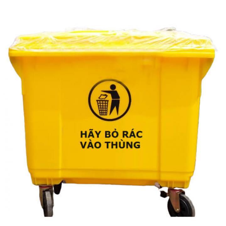 Thùng rác nhựa vàng Vietclean B-660Y 660L