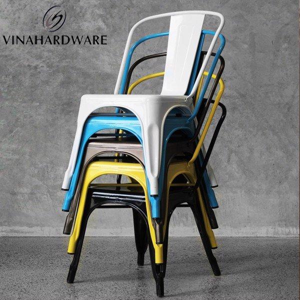 Ghế sắt Tolix sơn tĩnh điện trắng cho quán cafe, nhà hàng, khách sạn SP002665