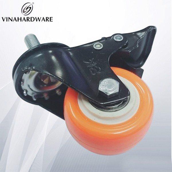 Bánh xe tủ ti ren 10x25mm CLC có khóa màu cam 50mm CT121D50 (cái)