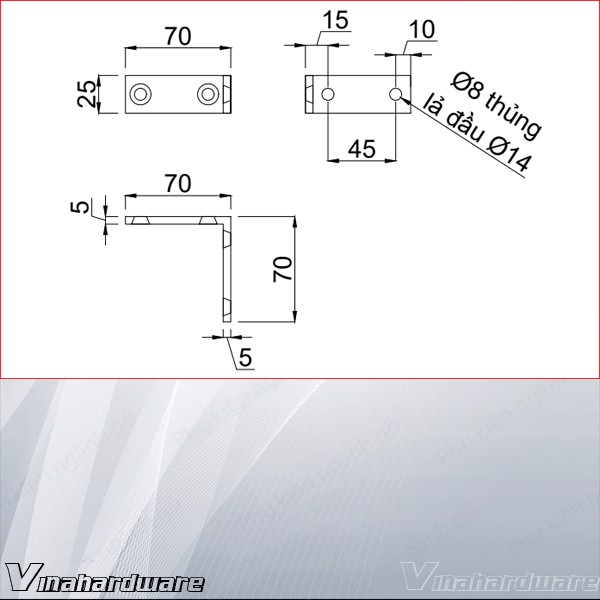 Bas L 70x70x5mm 4 lỗ HDBF423 (Cái)