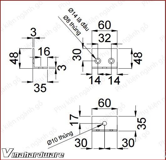 Bas ke góc 60x48x35x3mm sơn đen SP286055 (Cái)