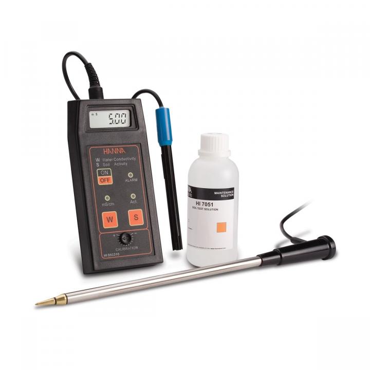 Máy đo độ dẫn và độ hoạt động trực tiếp trong đất Hanna HI993310