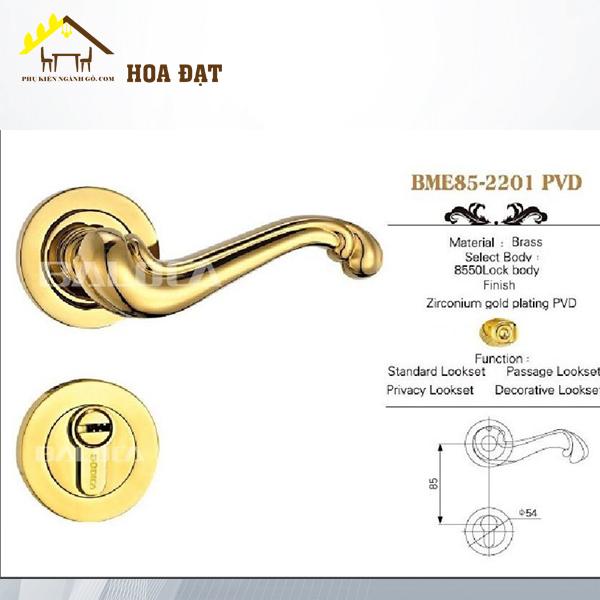 Khóa cửa đồng cao cấp cách điệu DL2201PVD (Bộ)