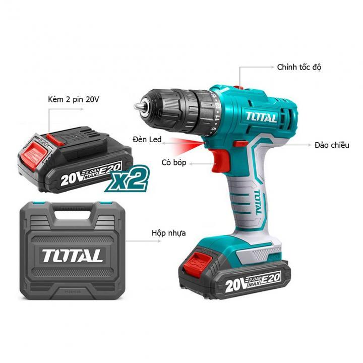 Máy khoan búa dùng pin Lithium E20 Total TIDLIE2001