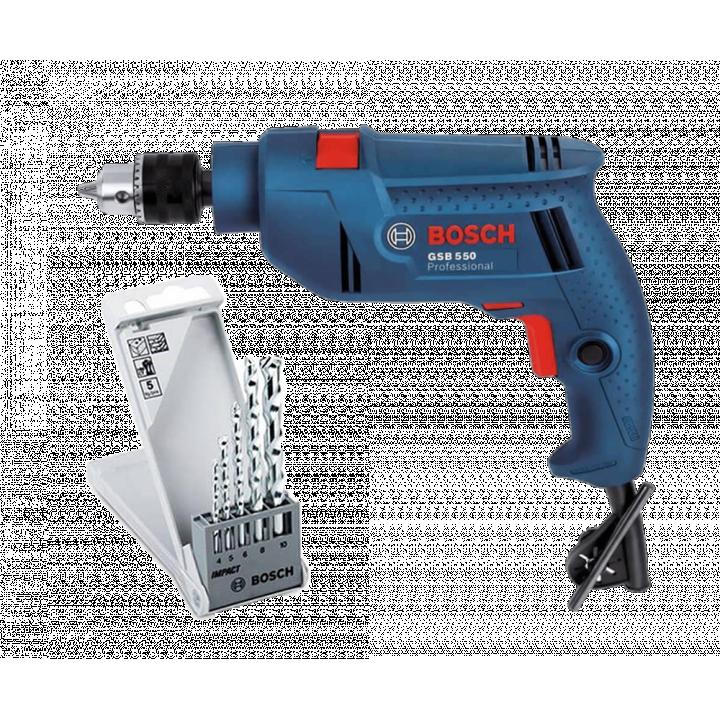 Máy khoan Bosch GSB 550 + Bộ 5 mũi khoan tường