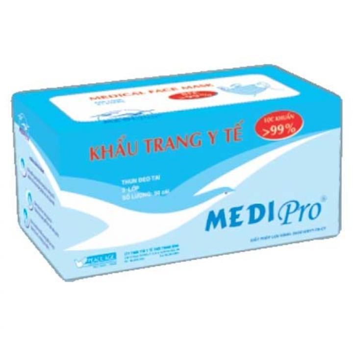 Khẩu trang y tế cao cấp MEDI Pro, độ lọc khuẩn BFE > 99,9% (hộp 50 cái)