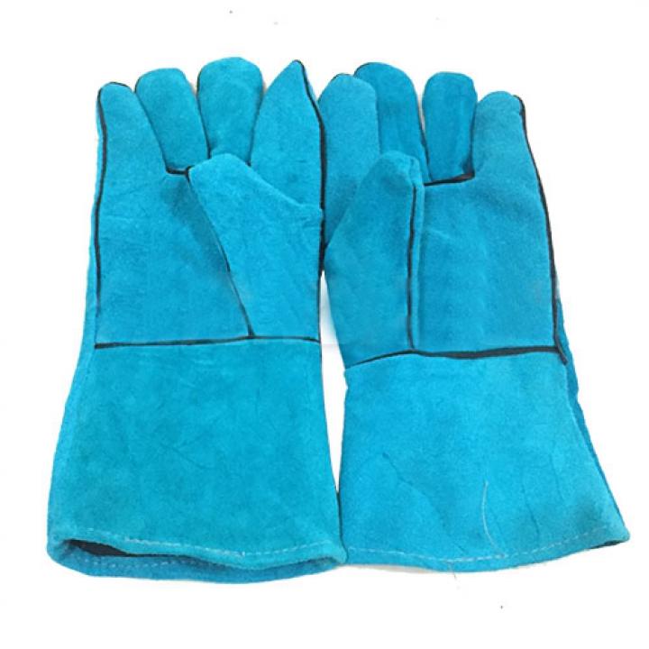 Găng tay da hàn Pháp màu xanh nhạt dài 31cm