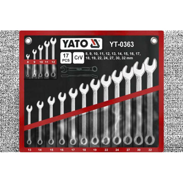 Bộ cờ lê vòng miệng 17PCS Yato YT-0363