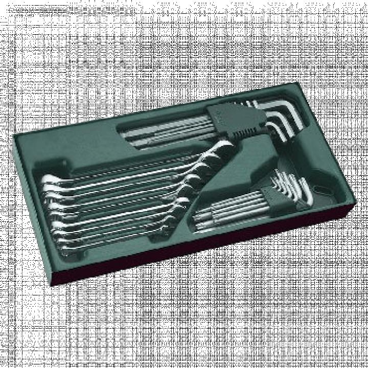 Bộ khay cờ lê vòng miệng 27 chi tiết (hệ inch) & bộ lục giác SATA 09922