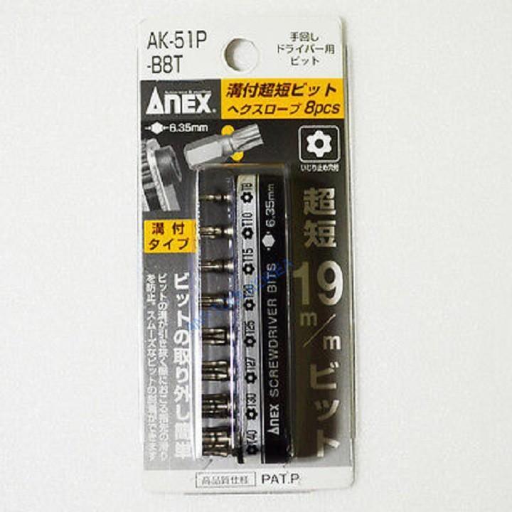 Bộ 8 mũi vít Anex đầu hoa thị T8, T10, T15, T20, T25, T27, T30, T40 AK-51P-B8T
