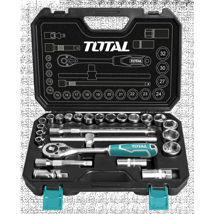 """Bộ 25 cái socket 1/2"""" cần 2 chiều Total THT121251"""