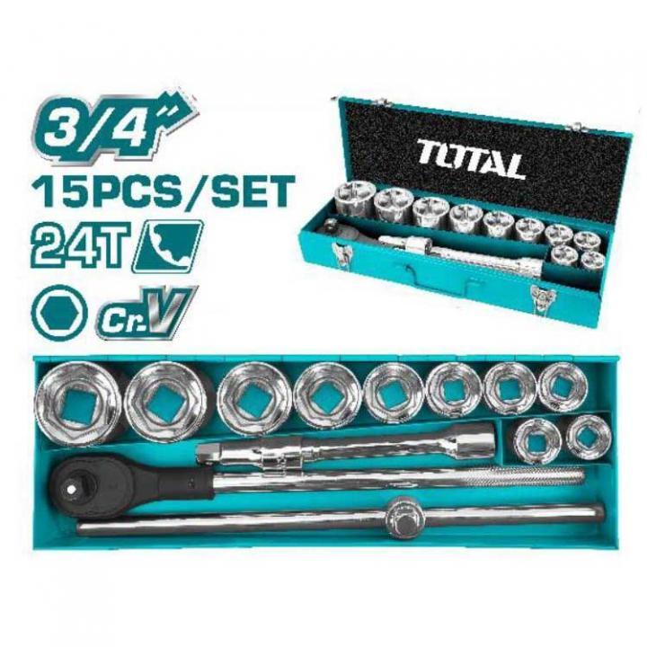 Bộ 15 đầu tuýp 3/4 inch Total THT341151