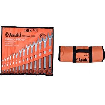 Bộ cờ lê vòng miệng xi mờ  14 cây Asaki AK-7504