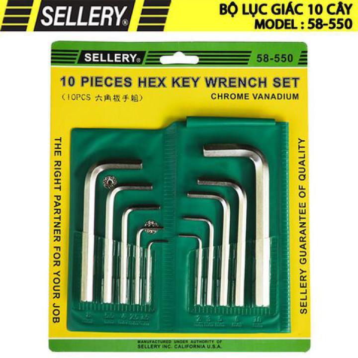 Bộ lục giác 10 cây (hệ mm) (Từ 1.5mm-10mm) Sellery 58-550