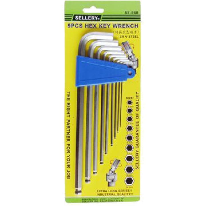 Bộ lục giác 9 cây (hệ mm) (Từ 1.5mm - 10mm) Sellery 58-560