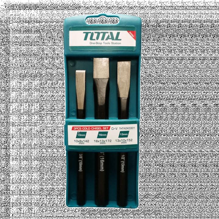 Bộ 3 đục dẹp nhọn Total THT42K0301