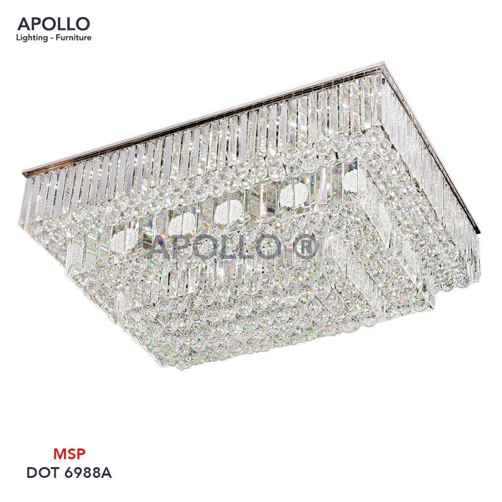 Đèn mâm ốp trần pha lê chữ nhật DOT 6988A