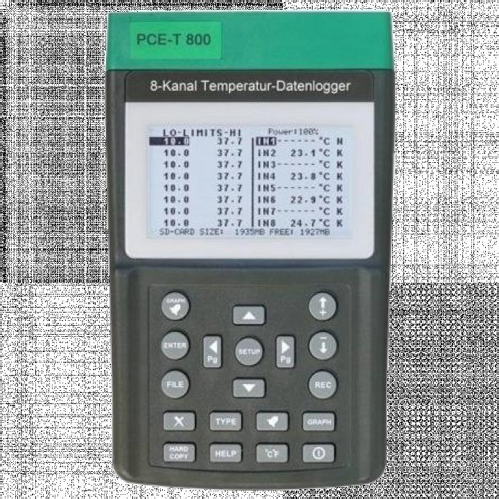 Máy đo nhiệt độ với data logger hiển thị đồng thời 8 kênh đo PCE PCE-T800