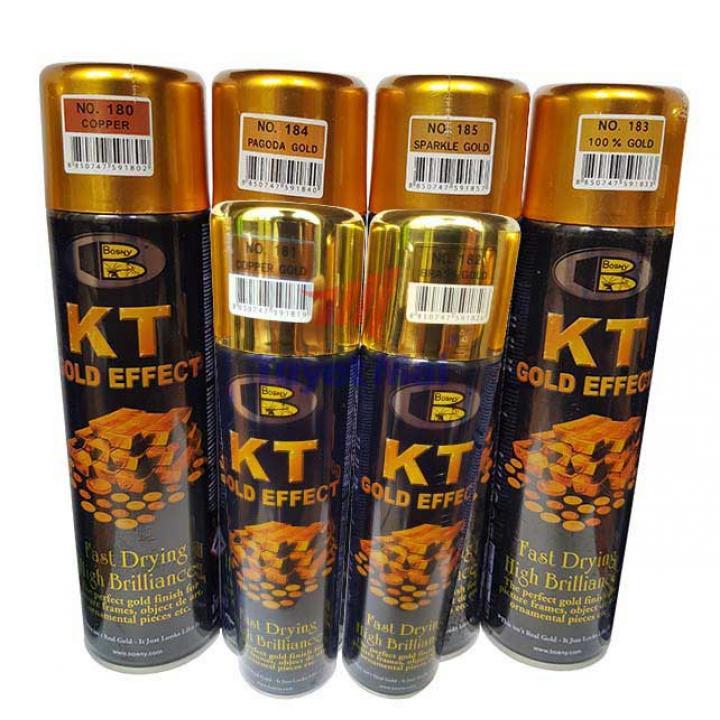 Sơn xịt mạ vàng Bosny KT Gold Effect 200cc 12 chai