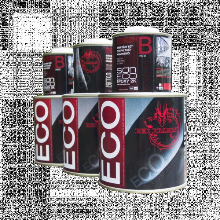 Sơn Eco Epoxy 2K mờ Rồng Đỏ màu đen