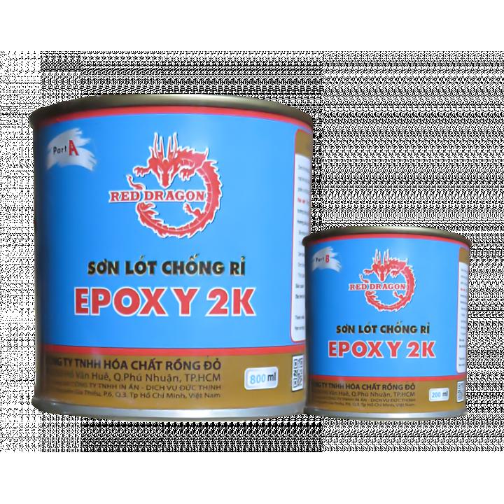 Sơn sắt mạ kẽm 2 thành phần Epoxy 2K lót Rồng Đỏ màu đen