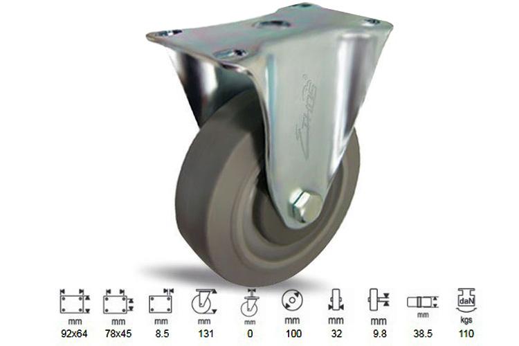 Bánh xe cao su dòng 250 tải trọng trung bình trục cố định Ethos 252EIY100P0