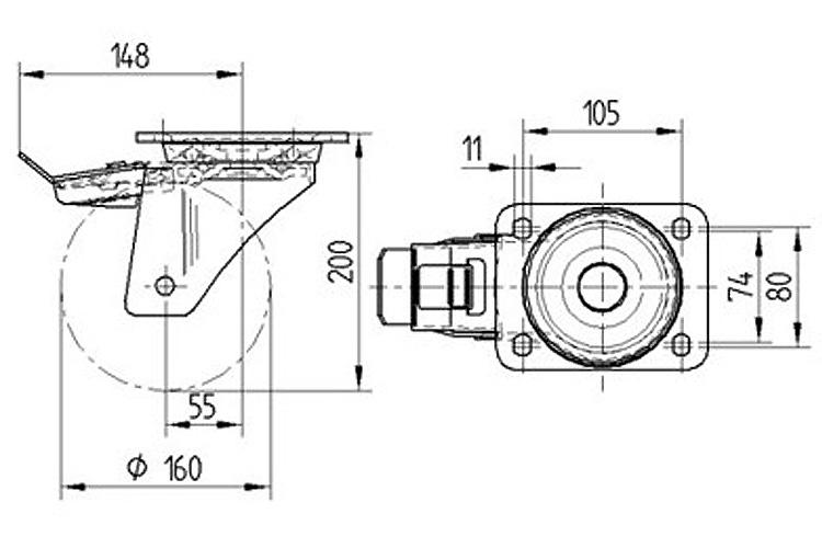 bánh xe cao su dòng 4680 chịu tải trọng nặng trục xoay Tente 4680IEP125P63