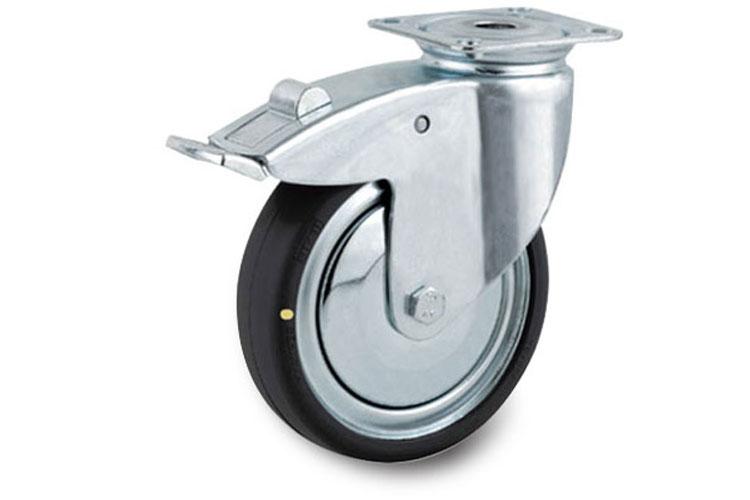 Bánh xe cao su chống tĩnh điện tải trọng trung bình trục xoay có thắng Tente 2477DYK125P50