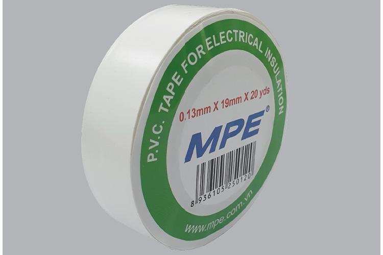 Băng keo điện P.V.C 0.13mmx19mmx20yds BKW-20 màu trắng