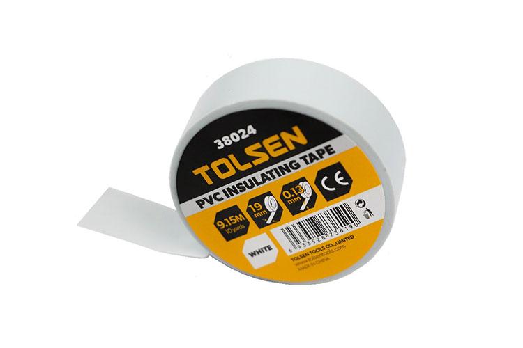 Băng keo điện 9,15m màu trắng Tolsen 38024