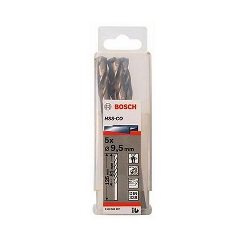 Hộp 5 mũi khoan Inox HSS-Co 9.5mm BOSCH 2608585897