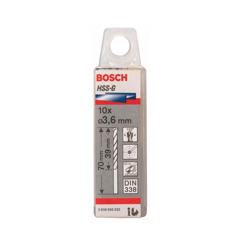 Hộp 10 mũi khoan sắt HSS-G 3.6mm BOSCH 2608595332