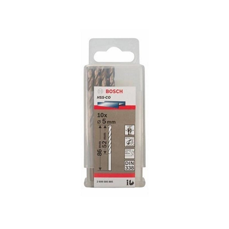 Hộp 10 mũi khoan Inox HSS-Co 5mm BOSCH 2608585885
